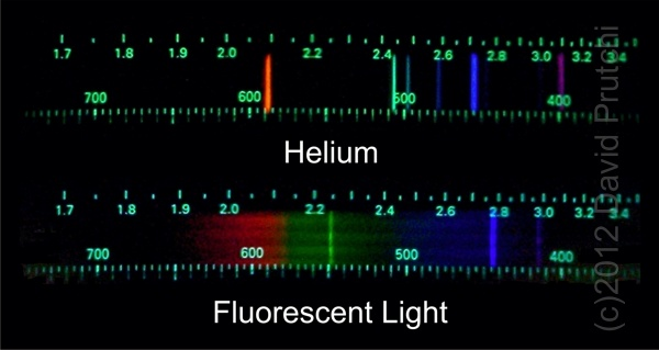 "Color spectrographs using the spectrometer described by Prutchi in ""Exloring Quantum Physics Through Hands-On Projects"""