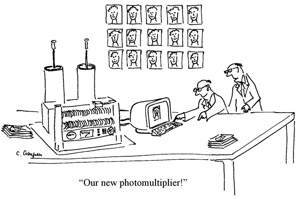 Funny physics photomultiplier cartoon by Prof. Claus Grupen