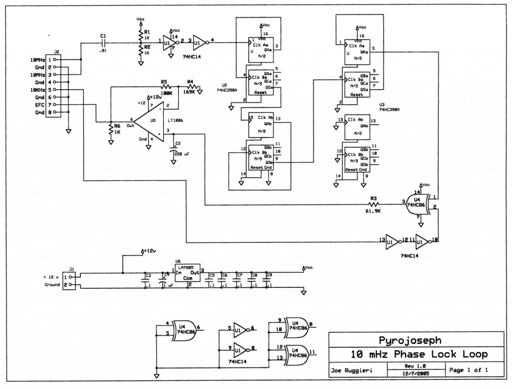 schematic of PLL by Joseph Ruggieri in diy GPS-disciplined 10 MHz frequency reference by David Prutchi PhD www.diyPhysics.com