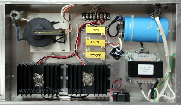 Inside chasis of d.i.y. 300 kV DC high voltage power supply by David and Shanni Prutchi