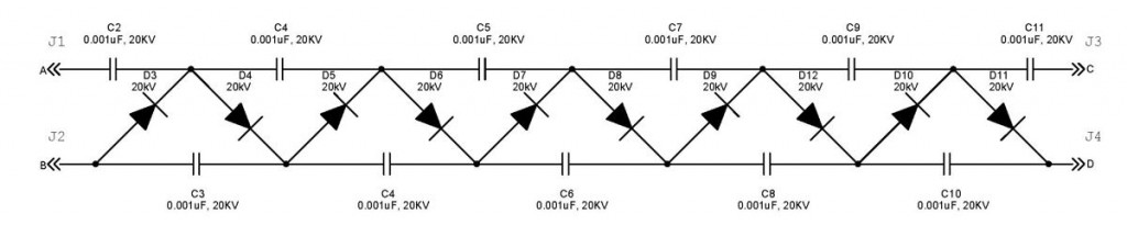 Schematic of Dual-Polarity High-Voltage Cockroft-Walton Multiplier by David and Shanni Prutchi