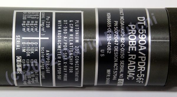 Label on surplus DT-590A plutonium 239 contamination probe