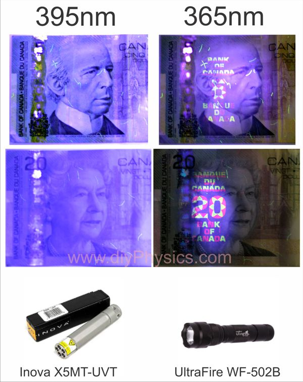 Comparison of fluorescence produced on Canadian bills by 365nm and 390nm UV LEDs. David Prutchi, Ph.D.