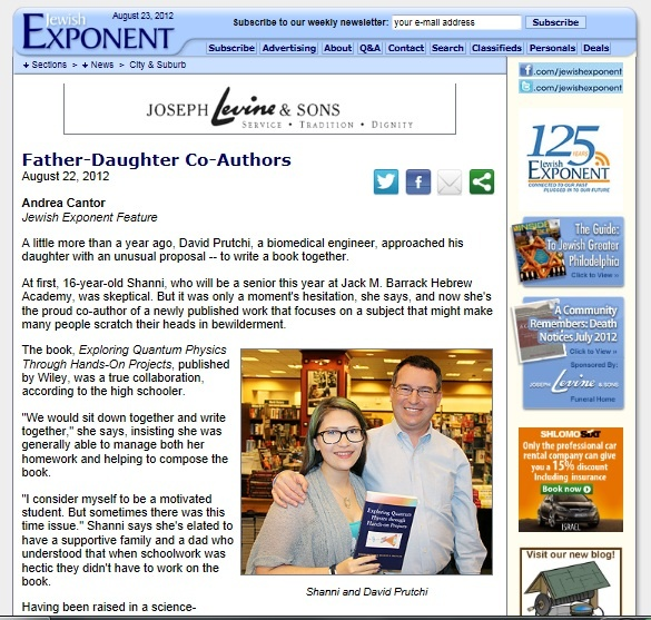 Shanni and David Prutchi featured in Philadelphia's Jewish Exponent