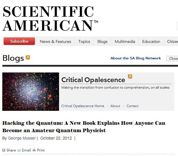 Blog from Scientific American Magazine for diyPhisics David and Shanni Prutchi