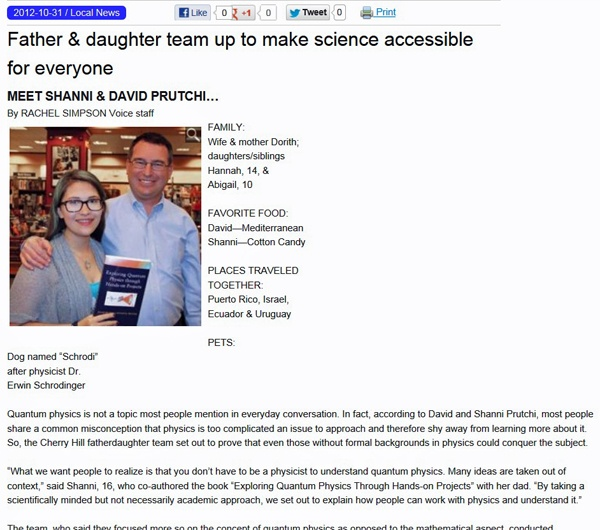 Article in SJ Voice Newspaper about David and Shanni Prutchi