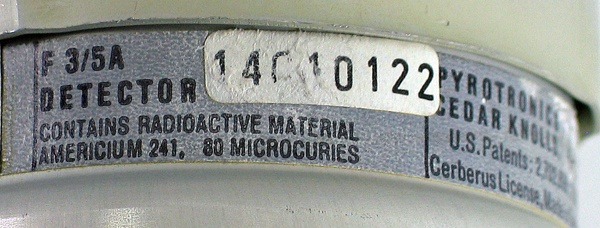 80uCi Am-241 Label on Pyrotronics F3/5A smoke detector