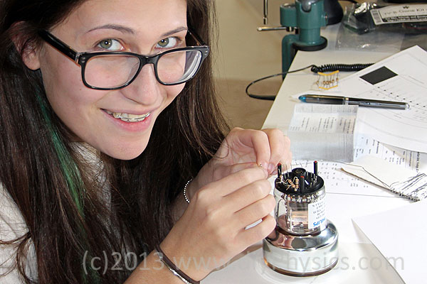 Shanni R Prutchi assemblying PMT/Plastic Scintillator probe for the CD V700 Pro Geiger Counter