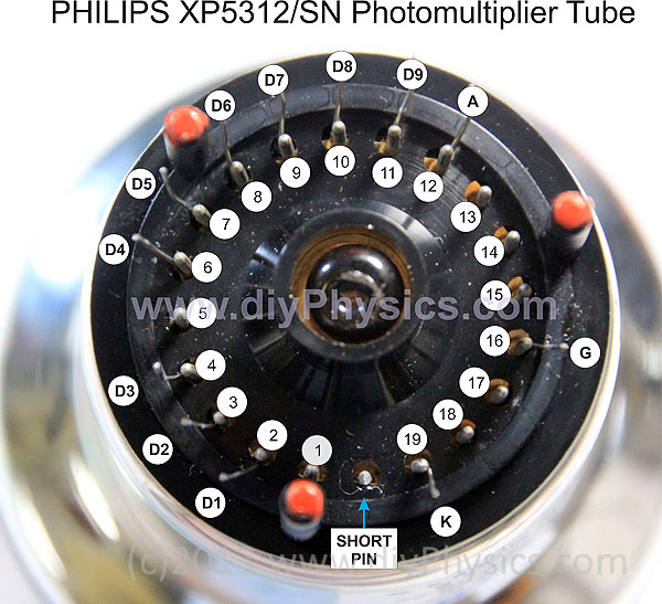 Pinout of the Philips XP5312/SN PMT Photomultiplier Tube Prutchi www.diyPhysics.com