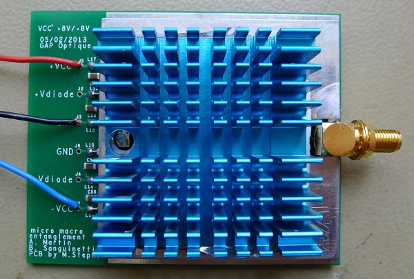 Fast pulse amplifier for macro entanglement detection