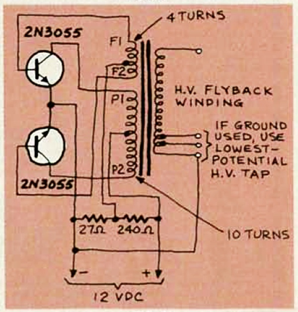 Flyback driver circuit from Radio Electronics September 1981 David Prutchi PhD www.diyPhysics.com